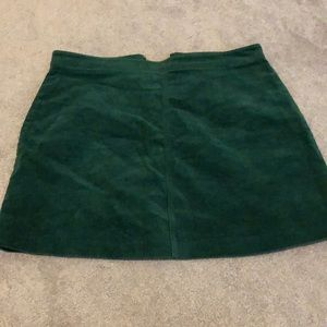 Green corduroy mini skirt